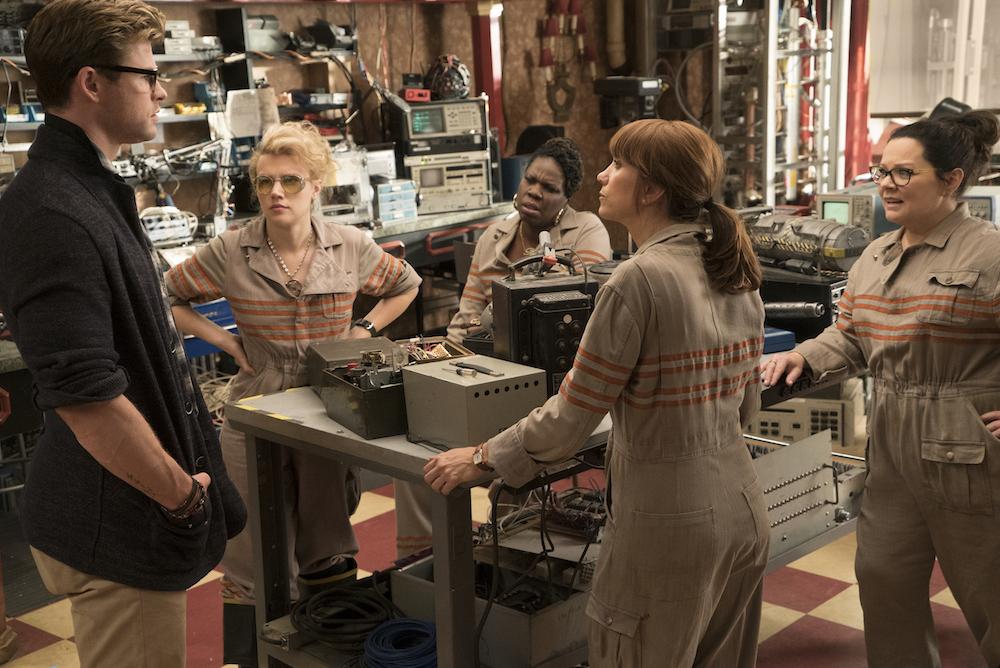 The Ghostbusters Holtzmann (Kate McKinnon), Patty (Leslie Jones), Erin (Kristen Wiig), Abby (Melissa McCarthy) Kevin (Chris Hemsworth)